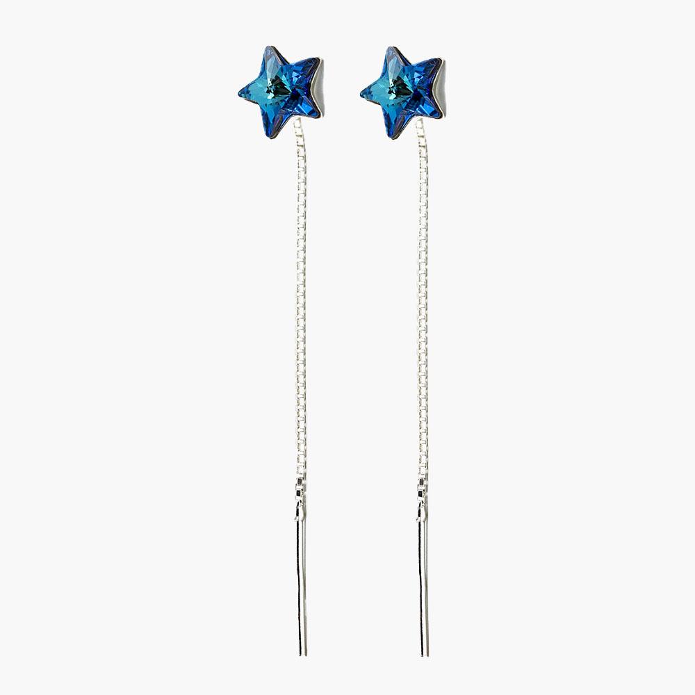 Cercei lant argint stea Bermuda Blue